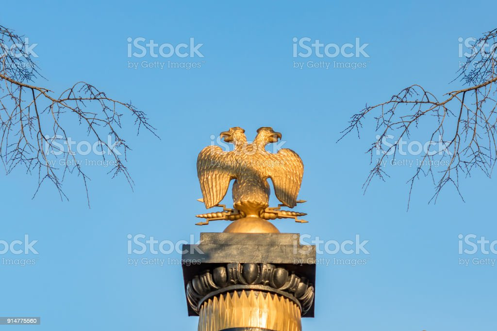 two headed eagle  against blue sky and tree branches stock photo