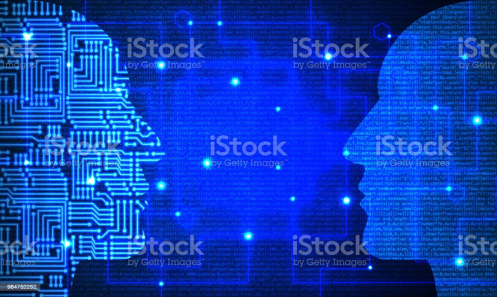 Two heads with circuit and blue code pattern facing each other royalty-free stock photo