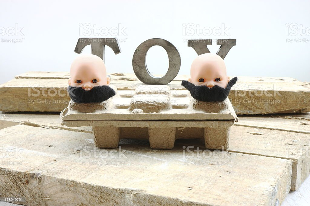 Two heads with moustaches royalty-free stock photo