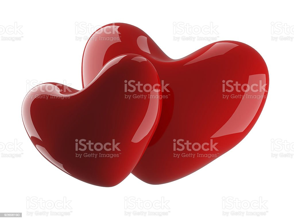 Two heart on a white background. 3D image. royalty-free stock photo