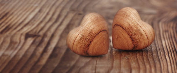 Two heart on wood stock photo