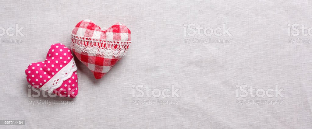 Two heart pillow with lace stock photo