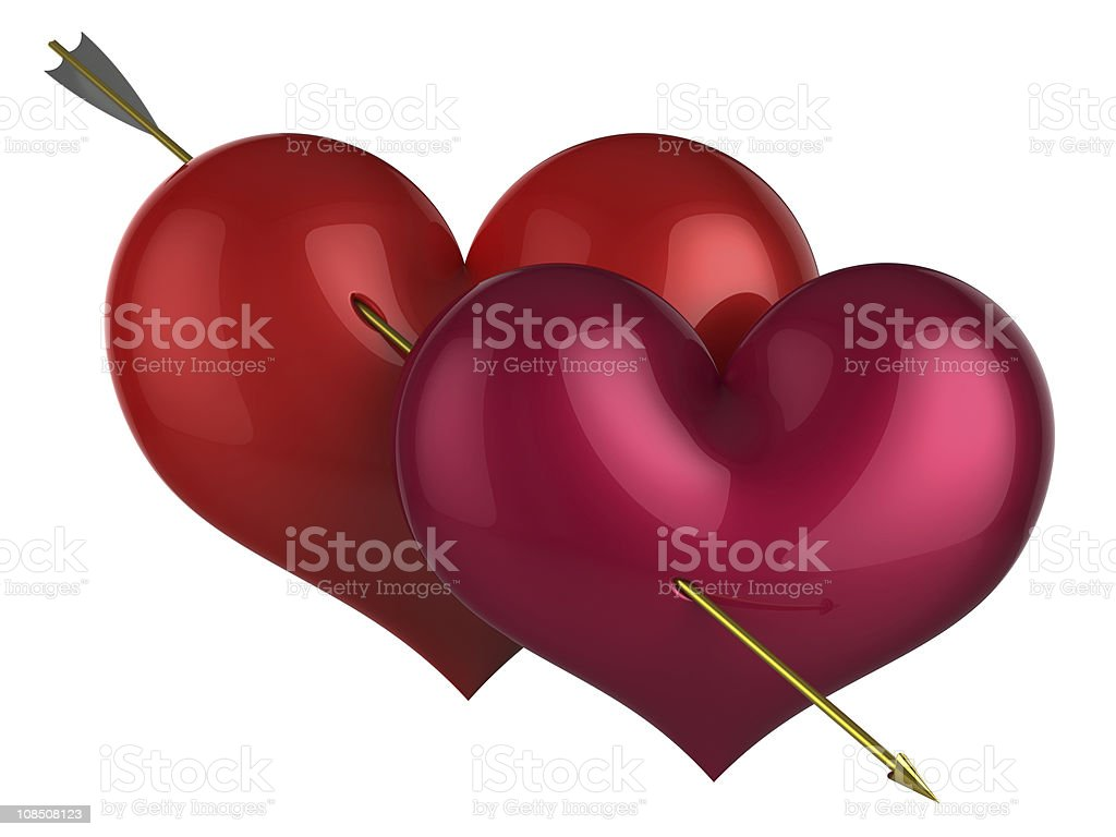 Two Heart Shapes In Love Symbol Classic Stock Photo More Pictures