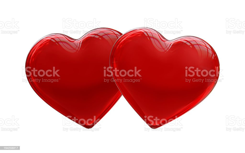 Two Hearts 3d royalty-free stock photo