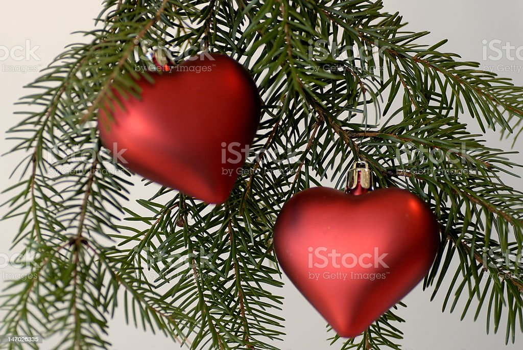 Two hearts as Christmas decor stock photo