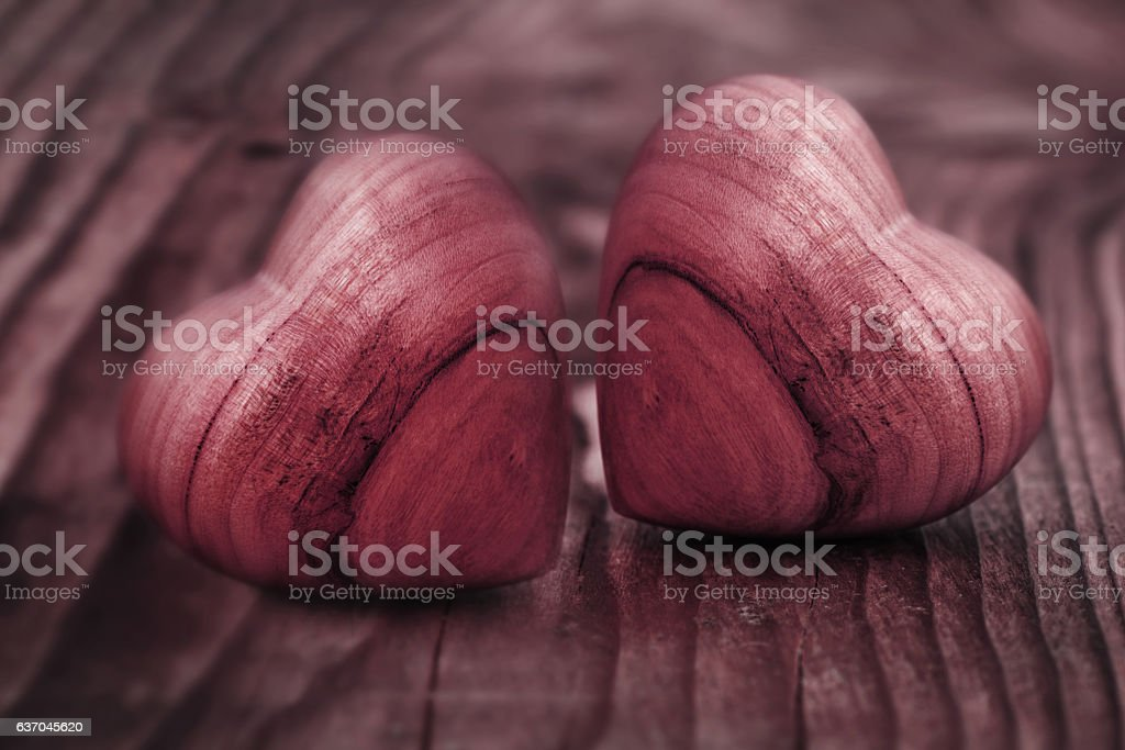 Two hearts of wood stock photo