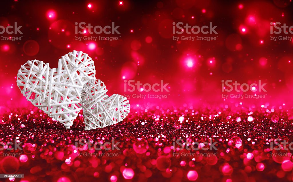 Two Hearts On Red Sparkle Glitter stock photo
