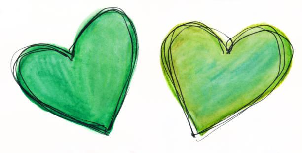 Zwei Herzen einer mit Grün- auf weißem Hintergrund – Foto
