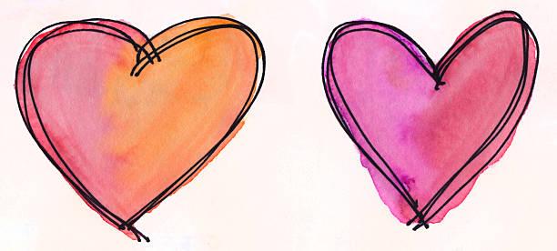 Zwei Herzen mit leuchtenden Farben auf einem weißen Hintergrund. – Foto