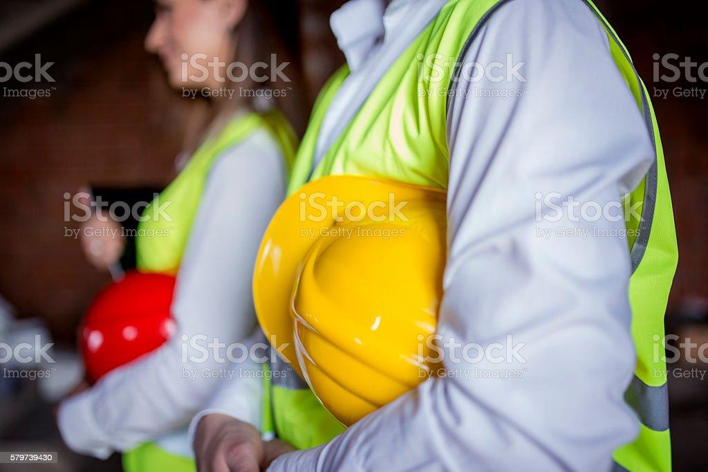 Two helmets closeup stock photo
