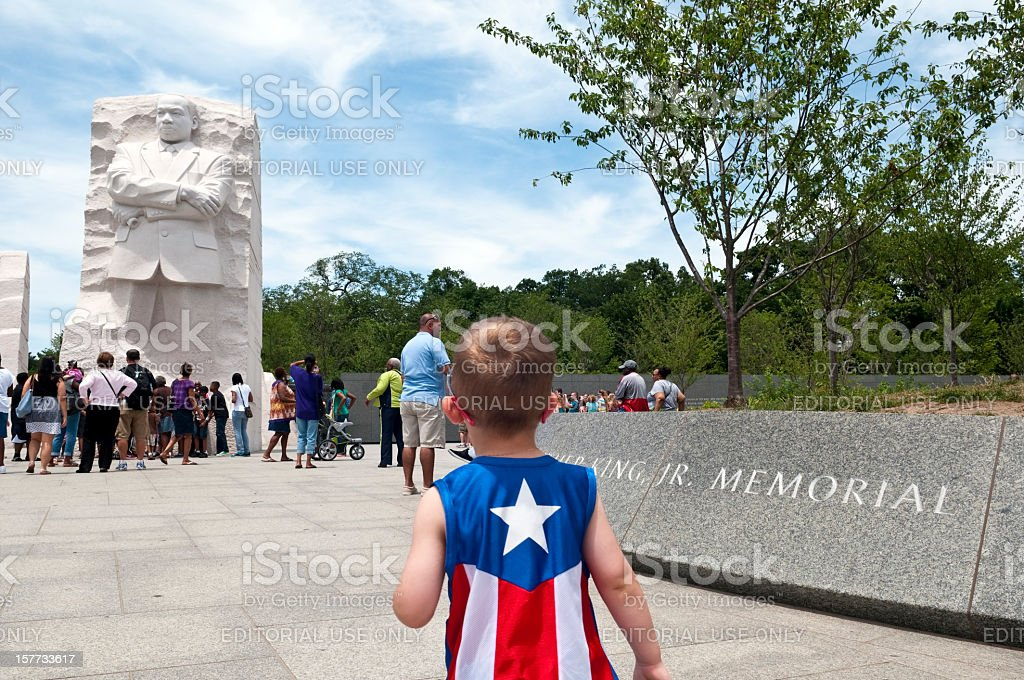 Two heroes: Captain America meets MLK Jr. stock photo