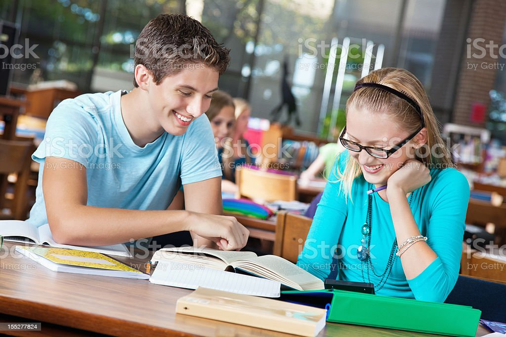 Two high school students studying together in library royalty-free stock photo