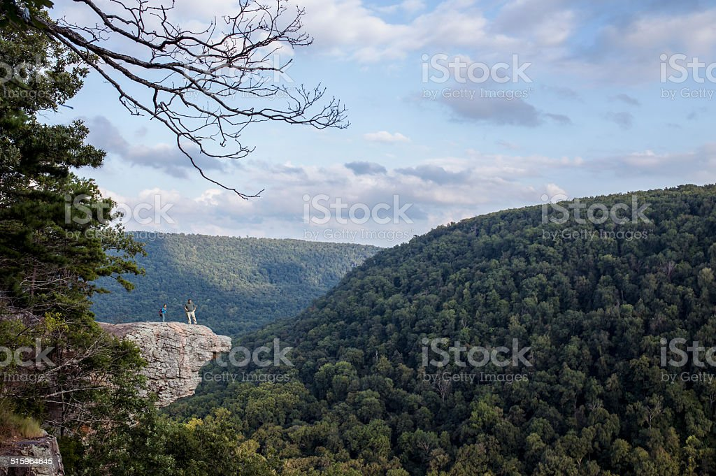 Two Hikers at Whitaker Point (Hawksbill Crag) stock photo