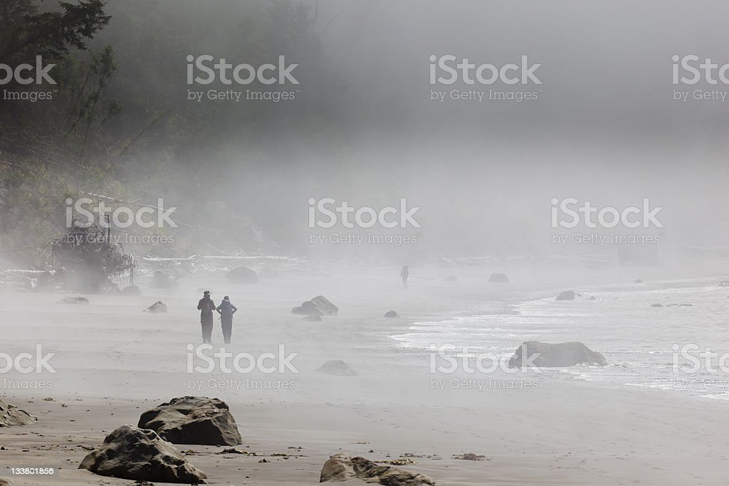Two hikers on a foggy rock strewn beach royalty-free stock photo