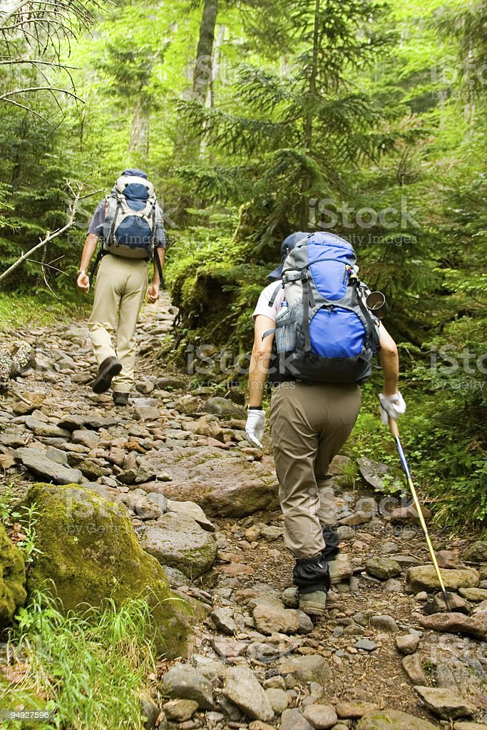 Two hikers on a trail holding blue backpacks on their backs royalty-free stock photo