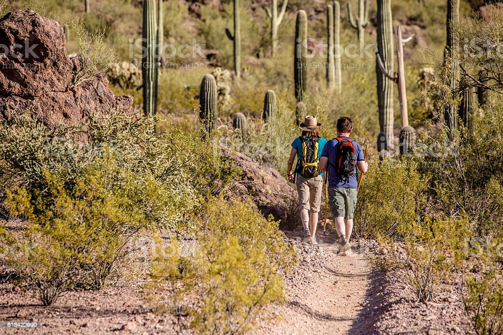 Two Hikers on Rugged Trail stock photo