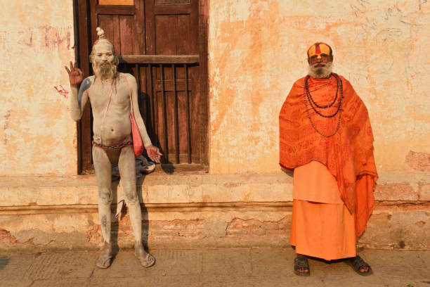 two hindu sadhu - hinduism stock photos and pictures
