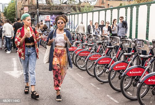 London, UK - July 12, 2015: Two hipster girls dressed in cool londoner style walking in Brick lane, a street popular among young trendy people.