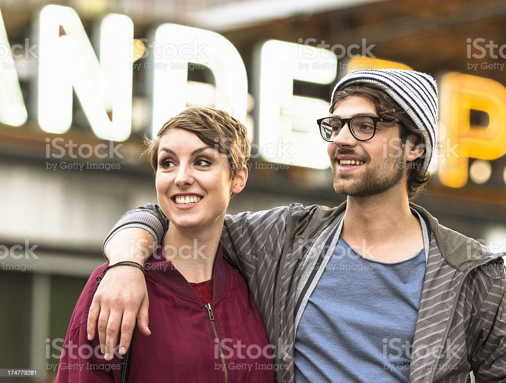 Two hipster walking on the street Berlin royalty-free stock photo
