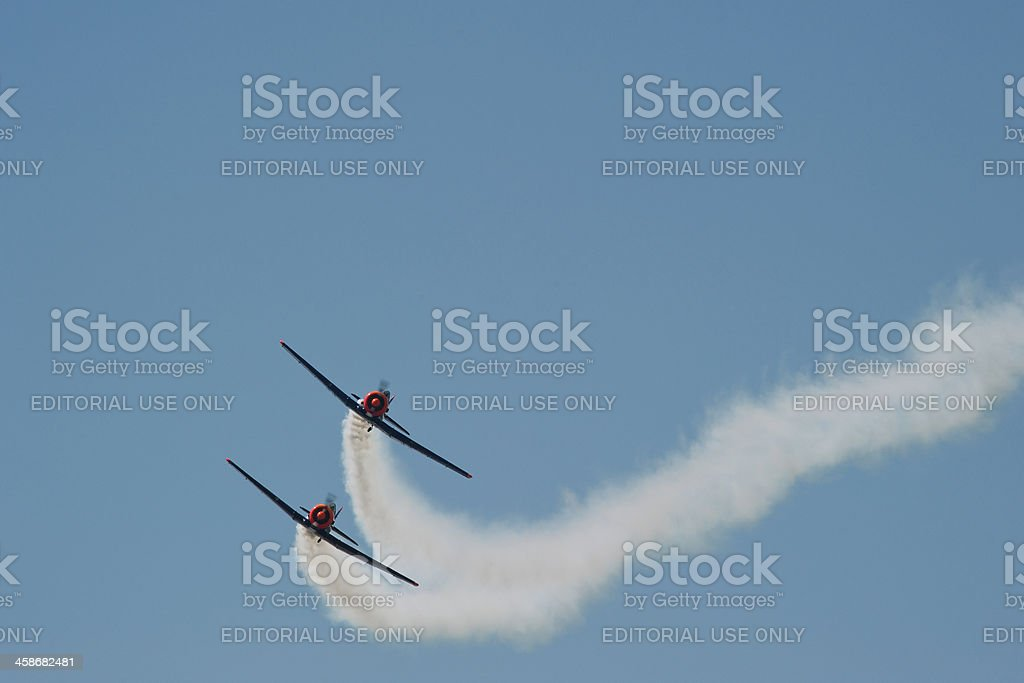 Two historic North American AT6 planes in Red Bull design royalty-free stock photo