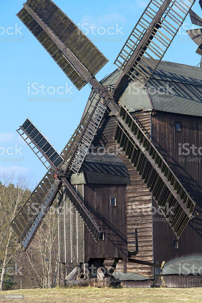 Two historical, original windmills stock photo