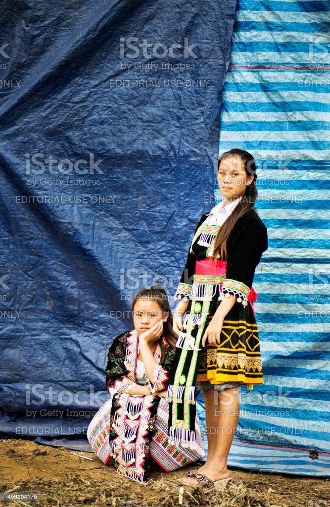 Two Hmong Women stock photo