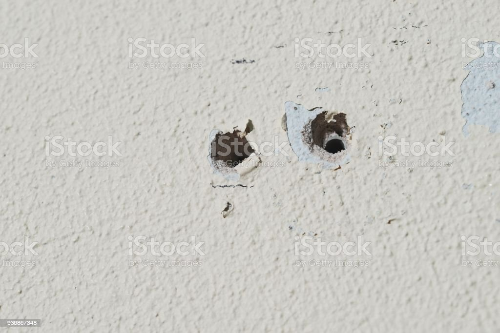Two holes in the wall foam or aerated concrete for the installation...