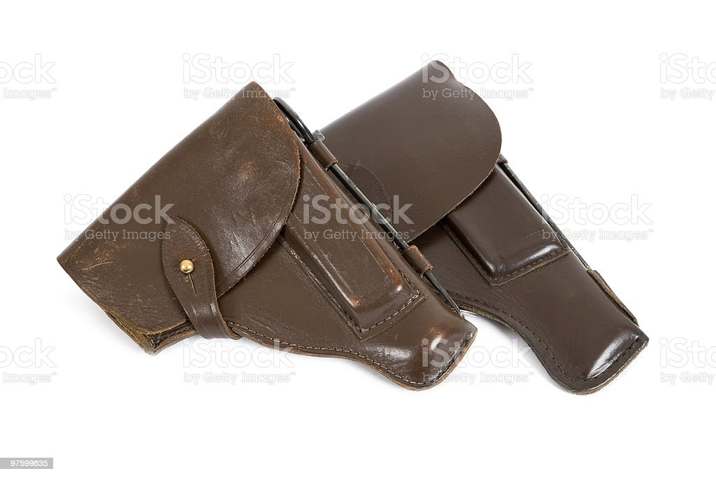 Two holsters on white background royalty-free stock photo