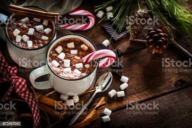 Two homemade hot chocolate mugs with marshmallows on rustic wooden picture id872457042?b=1&k=6&m=872457042&s=612x612&h=fox99upplxcu9vf3jdz ijpischf  khpbzykzxyccu=