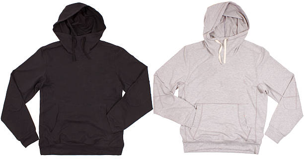 Two hoodie shirts isolated on white background stock photo
