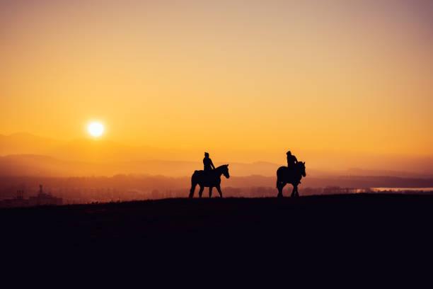 Zwei Reiter auf Silhouette auf Sonnenuntergang Feld, schöne ruhige Sport Landschaft – Foto
