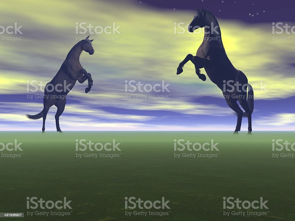 Two Horses Black 3d Render Stock Photo Download Image Now Istock