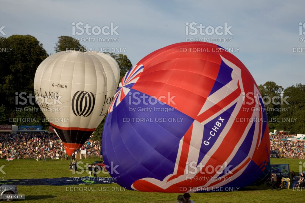 Two Hot Air Balloons are inflated stock photo