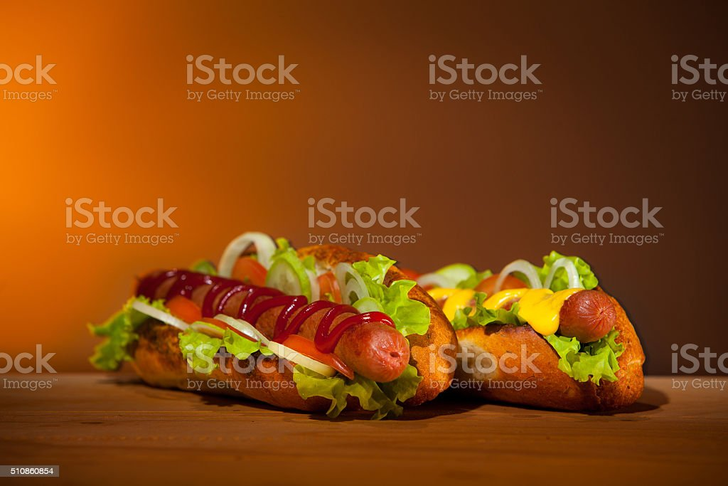 Two Hot dogs stock photo