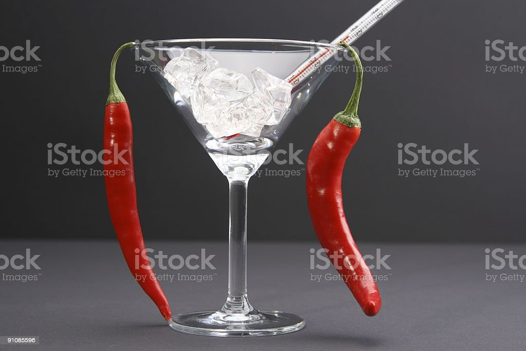 Two Hot Twin Peppers royalty-free stock photo