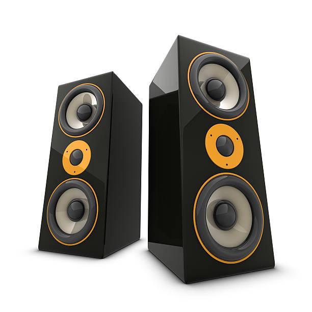 due grandi altoparlanti - altoparlante hardware audio foto e immagini stock