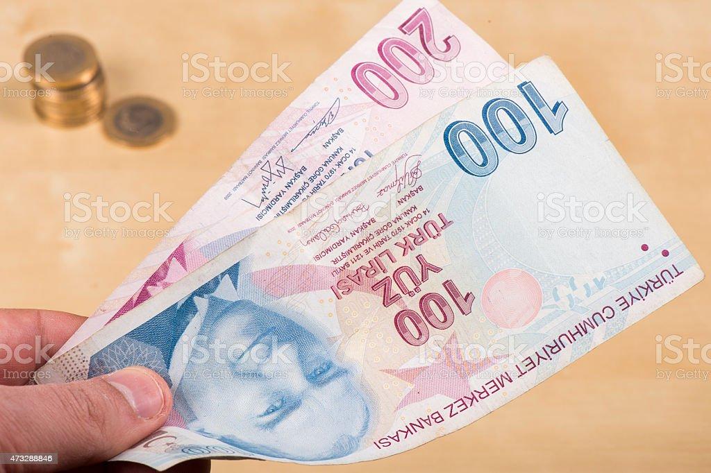 Two hundered Turkish Liras stock photo