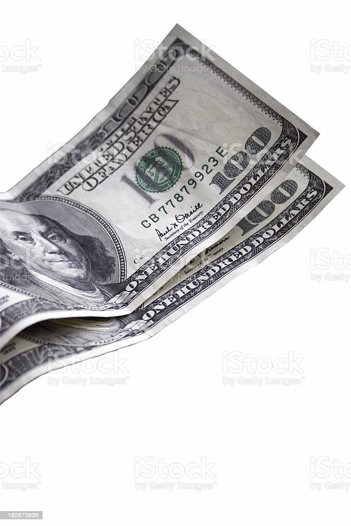 Two Hundred Dollar Bills Isolated royalty-free stock photo