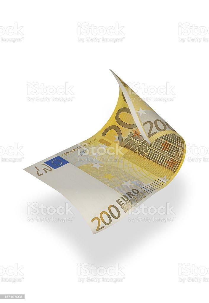 Billete de banco de dos cientos euros (aislado - foto de stock