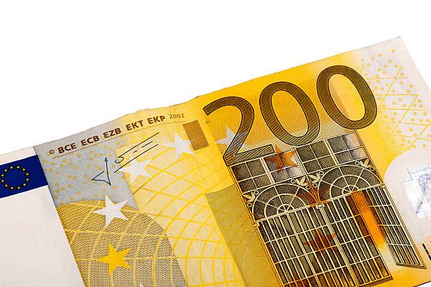 Billete de banco de dos cientos euros - foto de stock