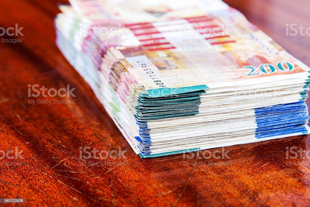Two hundred shekel bank notes . stock photo