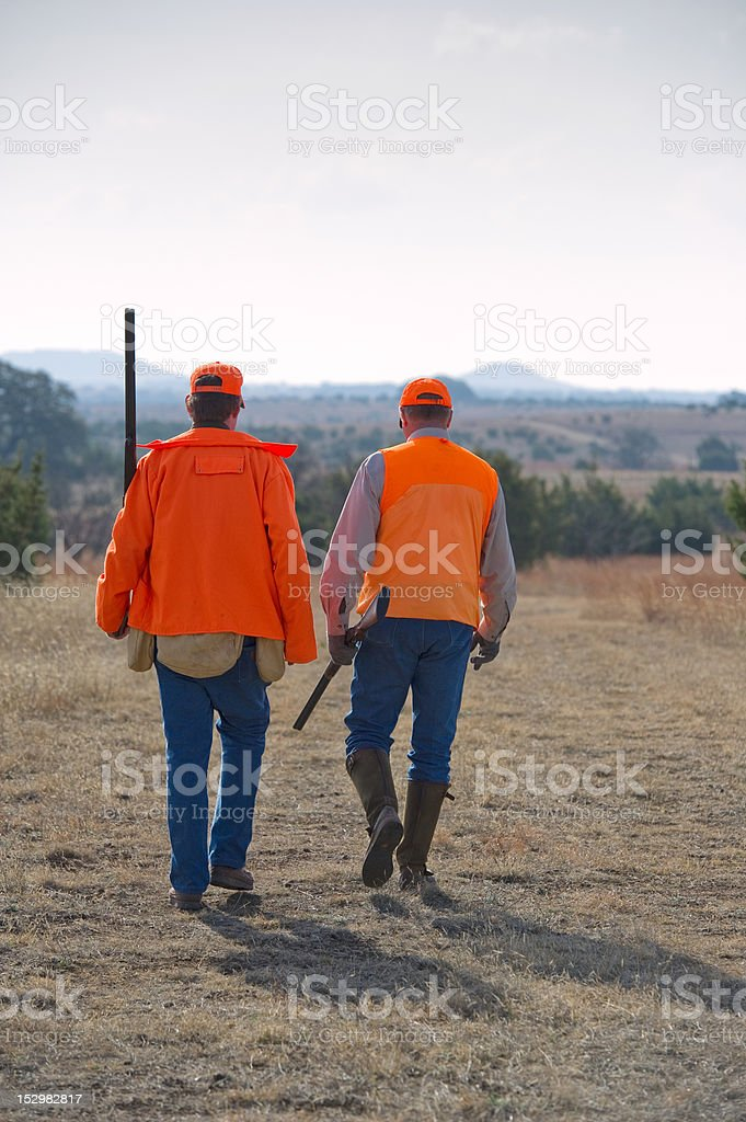 Two hunters in a field stock photo