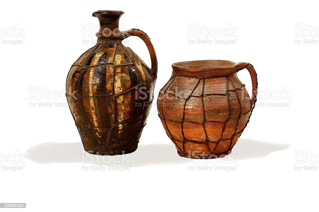 Two hutsul clay jugs stock photo