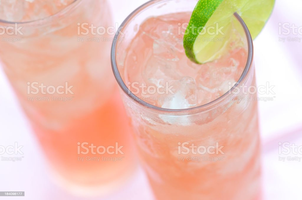 Two Icy Rhubarb Cocktails from Above royalty-free stock photo