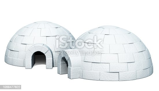 453066423 istock photo Two Igloos, 3D rendering isolated on white background 1056477622