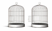 Two illustrated oval bird cages, one with the door opened