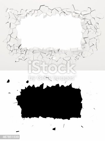 istock Two images of rectangular hole smashed in wall 467851539