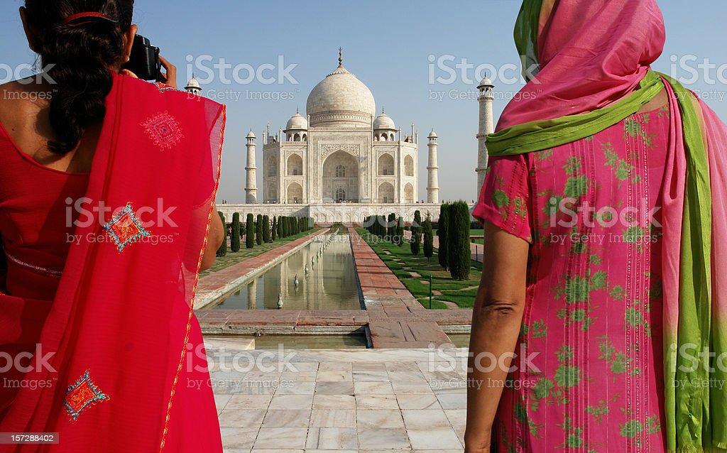 Two Indian Women in Taj Mahal stock photo