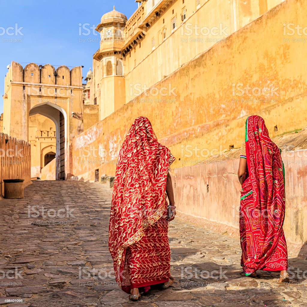 Two Indian women on the way to Amber Fort, India stock photo