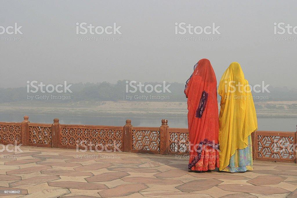 Two Indian women wearing Sari's stock photo